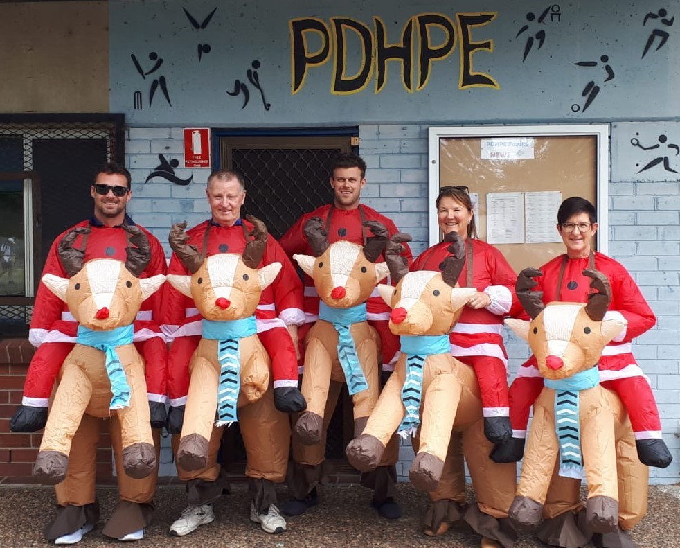 PDHPE Faculty group image dressed as reindeer